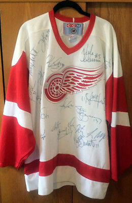 competitive price 0efd6 85726 DETROIT REDWINGS TEAM Signed Autographed NHL Hockey Jersey L ...