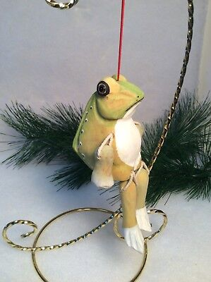 """Hand Carved and Hand Painted Wooden Frog Ornament Movable Arms And Legs 5"""" Tall"""