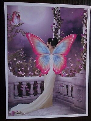 99P OFFER ==== 2 x Large Hand Made Card Toppers Lilac FANTASY FAIRY  ROSE GARDEN