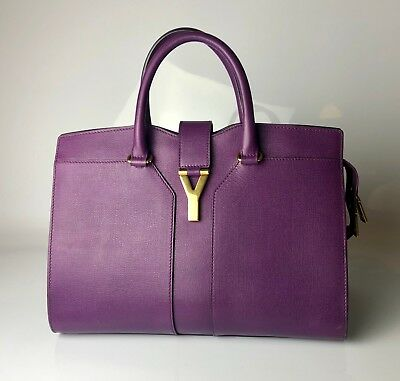 Yves Saint Laurent YSL Cabas Chyc Purple Saffiano Leather Medium Tote Bag 28997765aae68