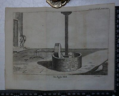 1776 - An Apple Mill  Engraving, Pluche, Spectacle of Nature