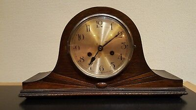 Large Vintage Napoleon Hat Style MANTEL CLOCK Wind-Up Function Chimes -