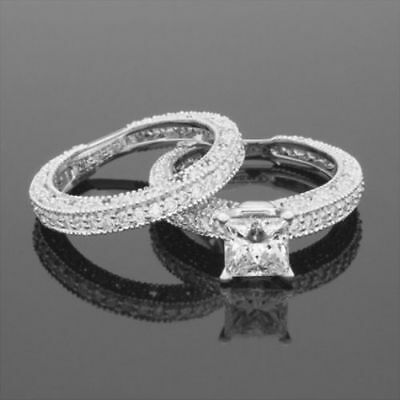 3.85 Ct Vs1 D Authentic Flawless Diamond Band Set Ring 14K White Gold Vintage
