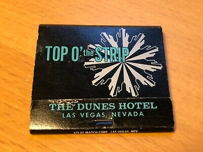 DUNES HOTEL and CASINO Las Vegas Nevada NV 1960's Matchbook Top o' the Strip