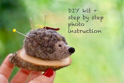Needle felting kit DIY woodland animal decor Hedgehog wool pincushion wood base