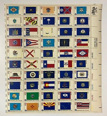 U.S. #1633-82 1976 13¢ State Flags - Sheet of 50