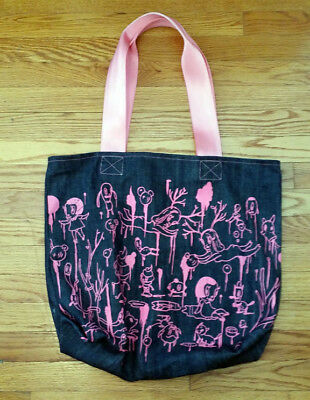 Gary Baseman Harveys Graphic Illustration Blue Denim Shoulder Bag Purse Tote