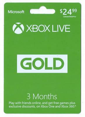 Microsoft Xbox Live 3 Month Gold Membership Subscription - Xbox 360 - Xbox One