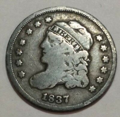 1837 Fine Capped Bust silver US HALF DIME.