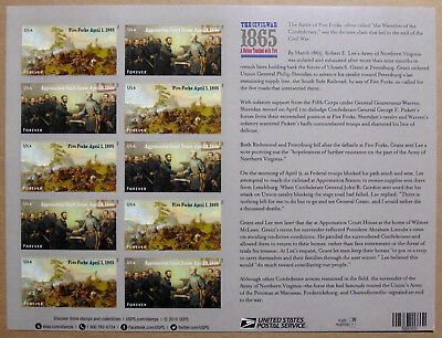 The Civil War: 1865 USPS Forever Stamps Sheet of 12