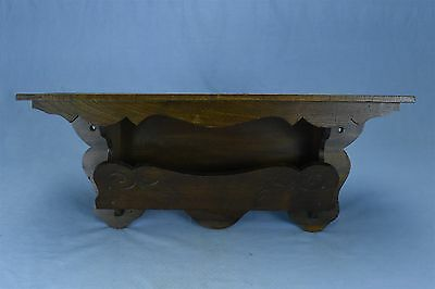 Antique WOODEN WALL MOUNT CLOCK SHELF with LETTER HOLDER UNUSUAL DESIGN #3212