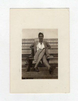 Vintage Photo Pretty Woman Great 1930's Look Bench Found Art 2-19