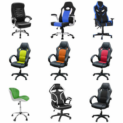 Multi Types/Colors Office Chair High Back Soft Pad Cushioned Seat Adjustable UK