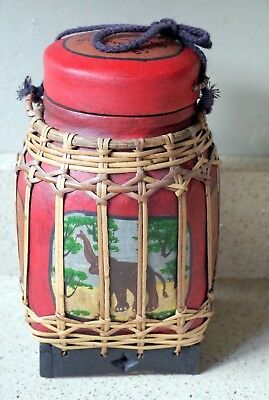 Vintage Thai Rice Box Jar With Lid Elephant Decorated Hand Painted Woven Bamboo