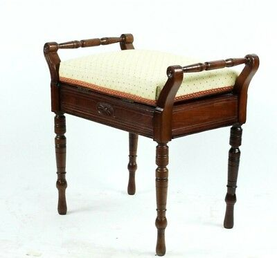 Antique Mahogany Piano Dressing Stool - FREE Shipping [PL4900]