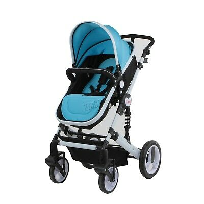 COSMETIC DAMAGED Foldable Baby Toddler Stroller 3 In 1 Pushchair Pram BS02 Blue