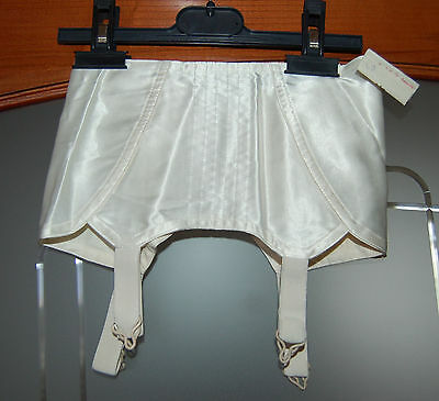Nos Vintage White Satin Open Bottom Corset Girdle Metal Garters S