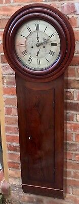 Stunning Antique Mahogany Act Of Parliament / Tavern Clock With Silvered Dial