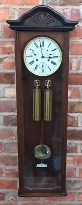Hermle Laterndluhr Vienna Wall Clock With Three Subsiduary Dials Brass Weights