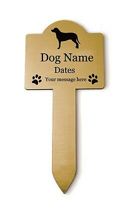 Personalised Pet Dog Memorial Plaque Stake GOLD - Outdoor Garden Waterproof