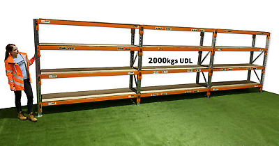 Longspan shelving, Heavy duty shelving, 1 - 8 bays complete with boards