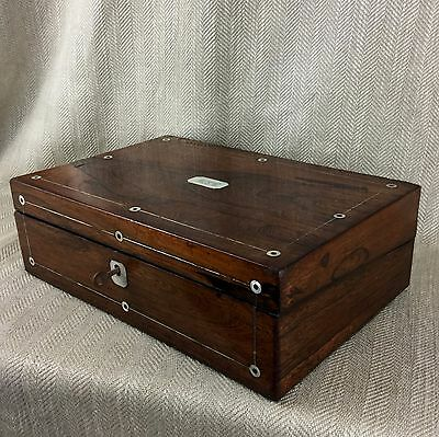 Antique Humidor Cigar Box English Wooden Chest Victorian Rosewood Inlaid