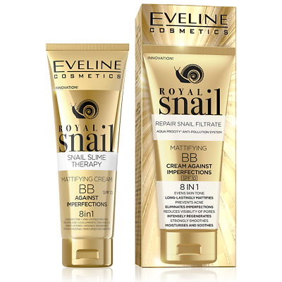 Eveline ROYAL SNAIL Mattifying BB Cream 8in1 Imperfections 50ml Anti Acne SPF10