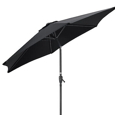 Garden Parasol Umbrella Crank Tilt Outdoor Aluminium Sun Shade UV 2.7m Christow