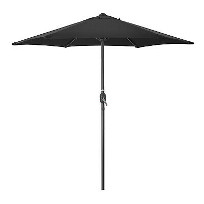 Garden Parasol Umbrella Steel Crank Wind Up Outdoor Sun Shade 2.4m Christow