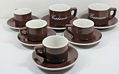 Set of ACF Italy Cups and Saucers: 2 Cappuccino & 4 Espresso - Brown & White
