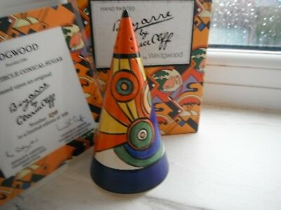 """CLARICE CLIFF """"SLICED CIRCLES""""  SUGAR SHAKER/SIFTER - by WEDGWOOD -  CERT'/BOXED"""