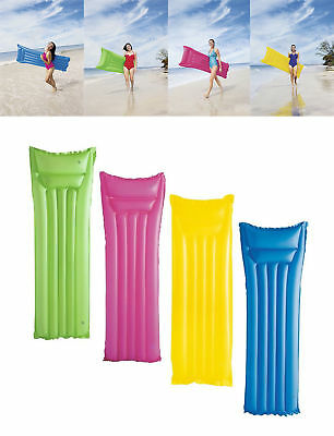 Inflatable Matt Lilo Lounger Swimming Pool Air Bed Pink Yellow Green Blue Li Lo