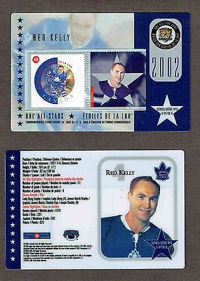2002 Canada Post NHL All-Stars, Maple Leafs' Red Kelly Laminated Stamp Card