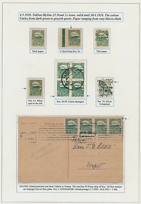 Estonia. 1920. 15 p. green. Page from EXHIBITION COLLECTION
