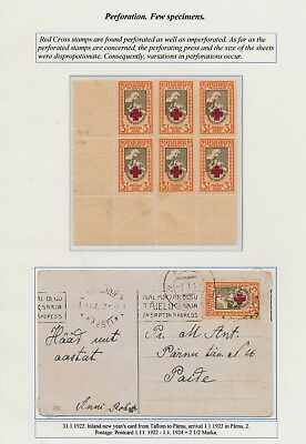 Estonia. 1921. Red Cross. Page from EXHIBITION COLLECTION