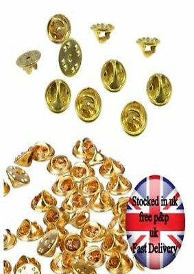 20 Gold  Metal Hat Pin badge Backs Tac Lapel Pins Butterfly Clasp Clips