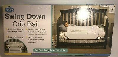 "Regalo Swing Down 33"" Long Convertible Mesh Crib Safety Railing, White - New!"