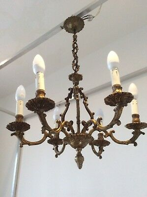 Lovely Huge Heavy Vintage 6-arm French Baroque Bronze Cage Chandelier, c1920/30s
