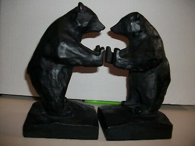 Vintage Black Cast Iron Grizzly Bear Book Ends