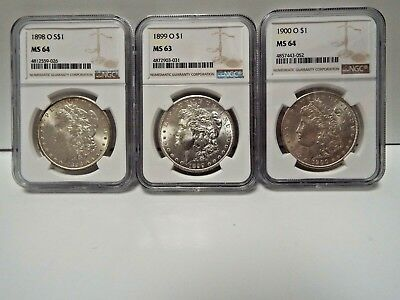 3 coin set 1898-O 1899-O 1900-O Morgan silver dollars PCGS 2/ MS64,1/MS63