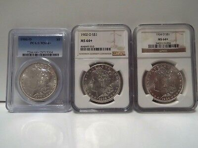 3 coin set 1900-O,1902-O,1904-O Morgan Silver Dollar - NGC/PCGS MS 64+