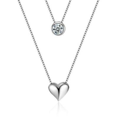 925 Sterling Silver Double Layer Heart Crystal Pendant Necklace Choker Womens