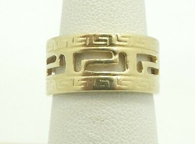 Sharp 14K yellow Gold 10mm Wide Open Greek Key Ring Size 6.5 5.8 Grams D6087