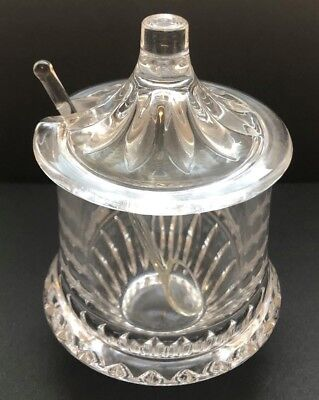 Condiment Jar with Lid Cut Glass Jam Mustard Jelly Honey Unmarked