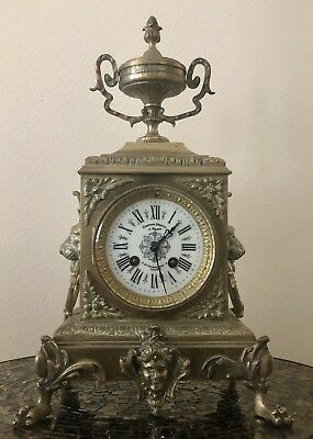 Beautiful Antique 19Century French Empire Mantle Clock (incl Key). Running GooD