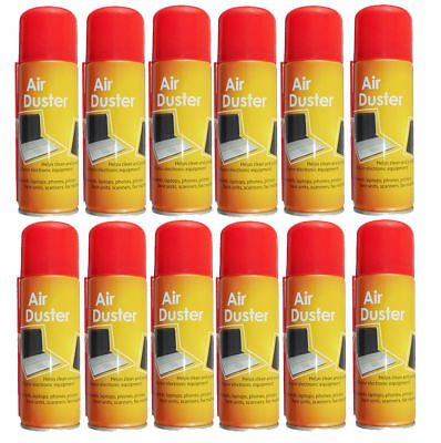 12x 200ml Compressed Air Duster Cleaner Can Canned Laptop Keyboard Mouse Phones