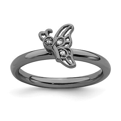 Fine Jewelry Sterling Silver W/ Rho Stackable Expressions Gold-plate Butterfly Diamond Ring Jewelry & Watches