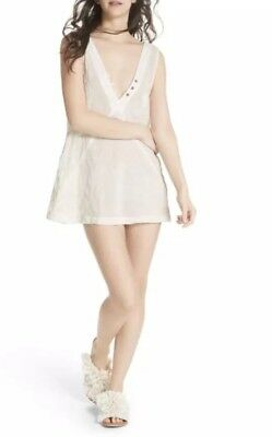 49a6ac89b902 Free People Sweetest Shifty Ivory Embroidered Slip Mini Dress Tunic Top  Medium