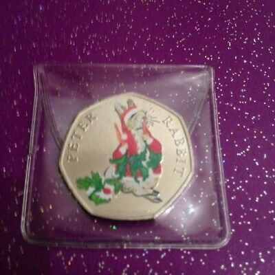 Uncirculated Xmas Coloured 2018 Peter Rabbit 50P Coin