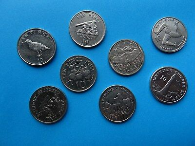 10 p coins of Gibraltar Jersey Guernsey Isle of Man - British coins of Europe